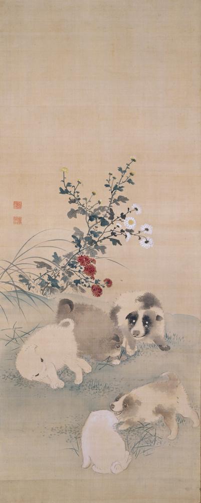 円山応挙《十二支図の内 菊狗子》(部分)海の見える杜美術館