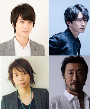 上段左から梅原裕一郎、津田健次郎、下段左から諏訪部順一、大塚明夫