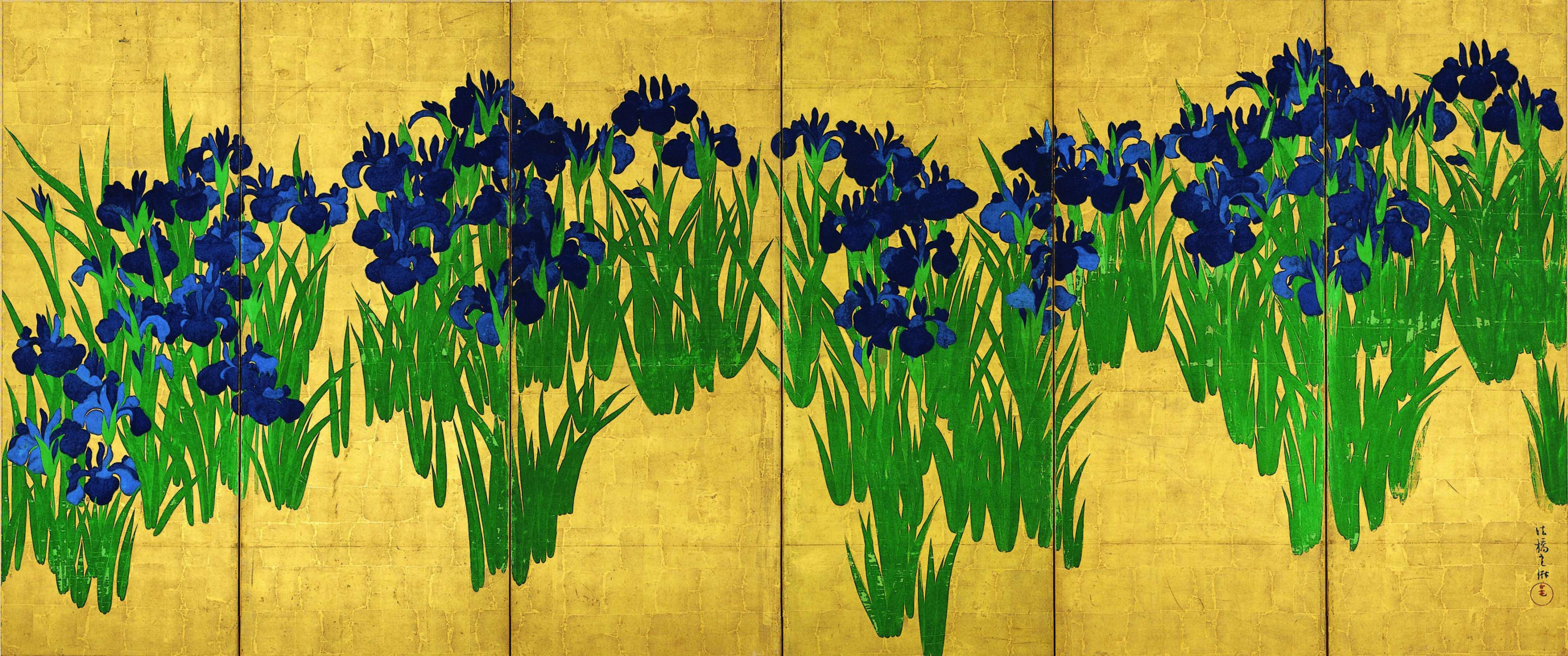 国宝 燕子花図屏風(右隻)尾形光琳筆 日本・江戸時代 18世紀 根津美術館蔵