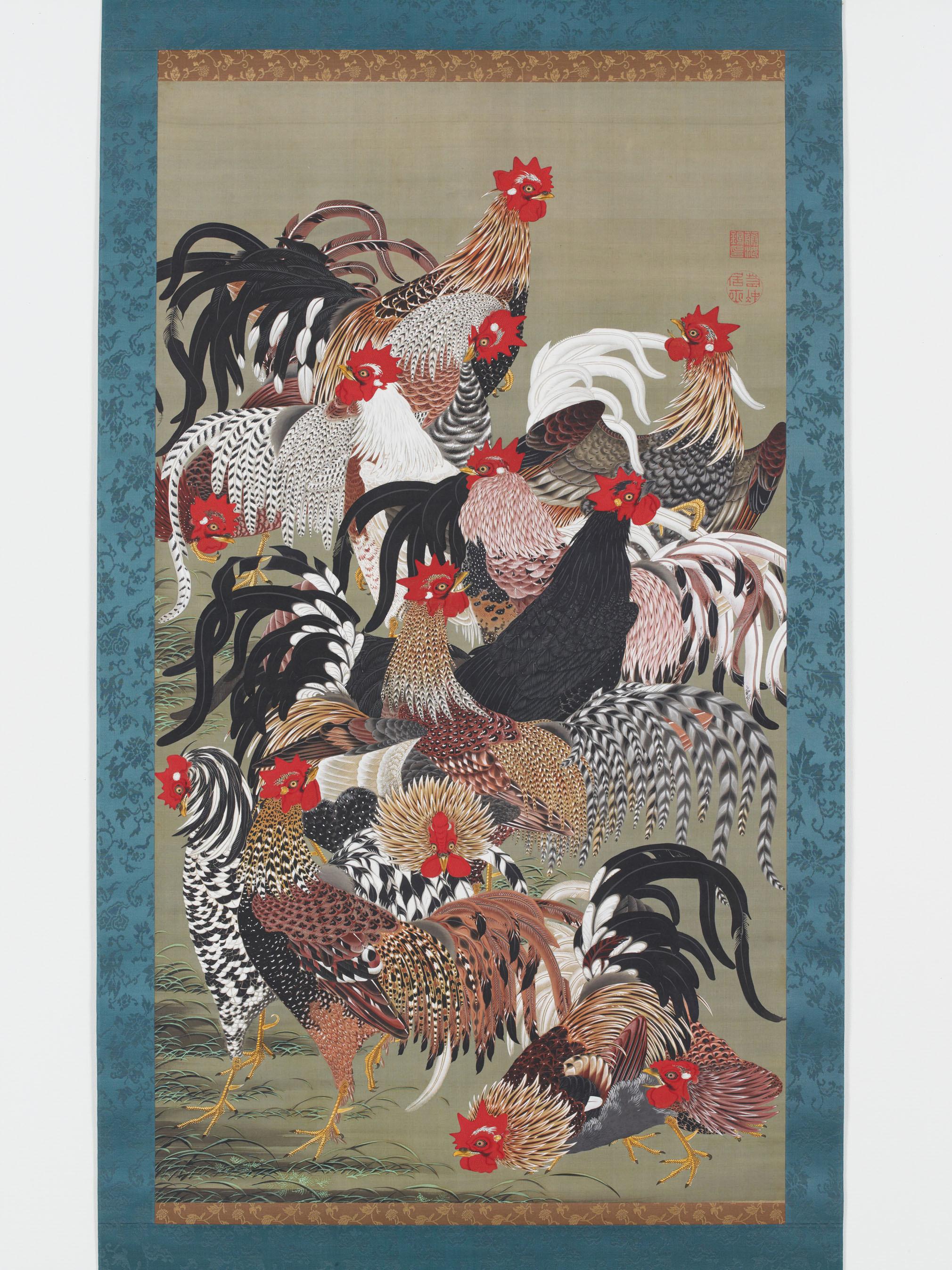 伊藤若冲〈群鶏図〉(動植綵絵30幅のうち) 宮内庁三の丸尚蔵館蔵