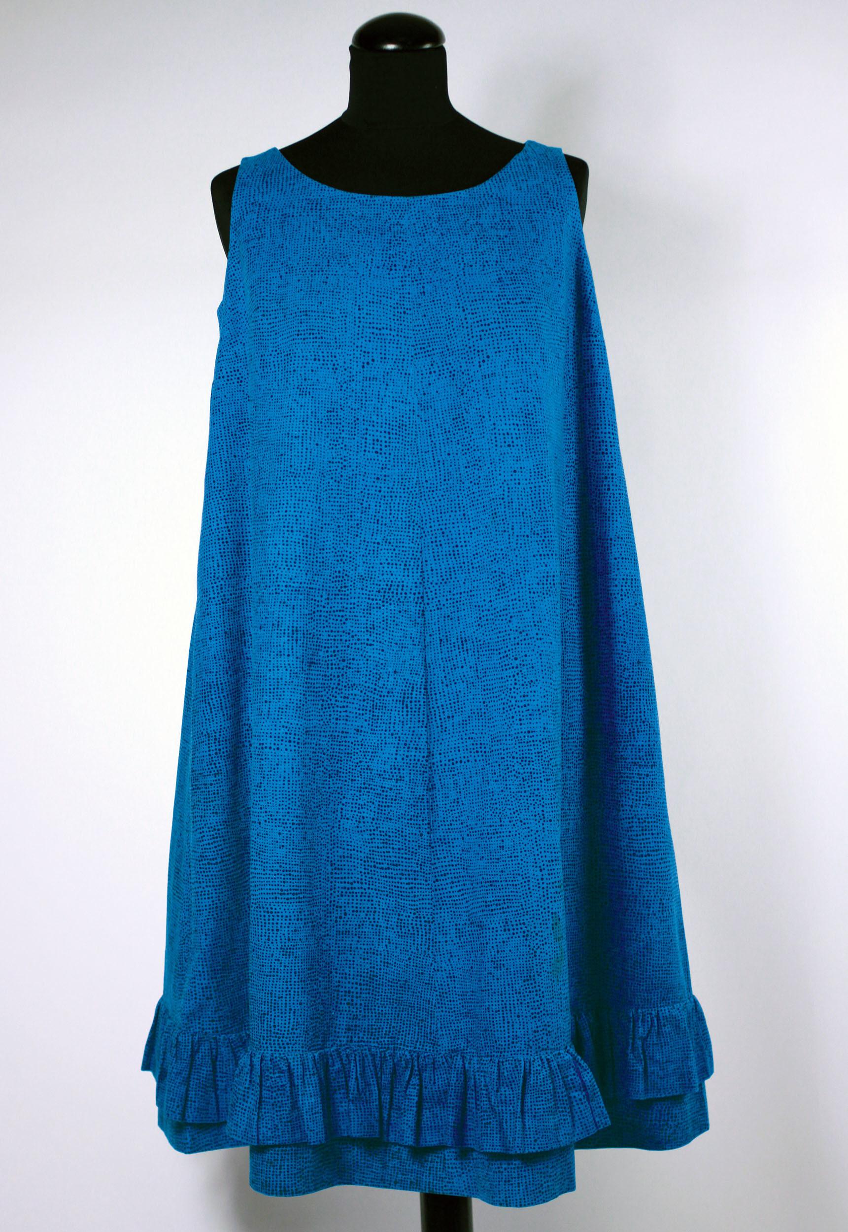 ジャクリーン・ケネディーが購入したドレス≪ヘイルヘルマ≫、1959年  ファブリック≪ナスティ≫(小さな無頭釘)、1957年、 服飾・図案デザイン:ヴオッコ・ヌルメスニエミ  Design Museum / Harry Kivilinna