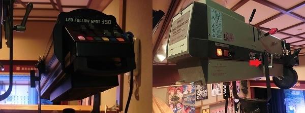 新しいLEDの機械(左)。長く使っている機械(右)。右の機械は同じものが2台並んでいる。