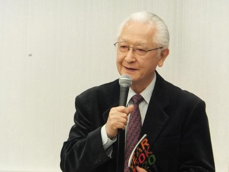 「大阪4大オーケストラ合同記者発表会」で意気込みを語る秋山和慶 (C)H.isojima