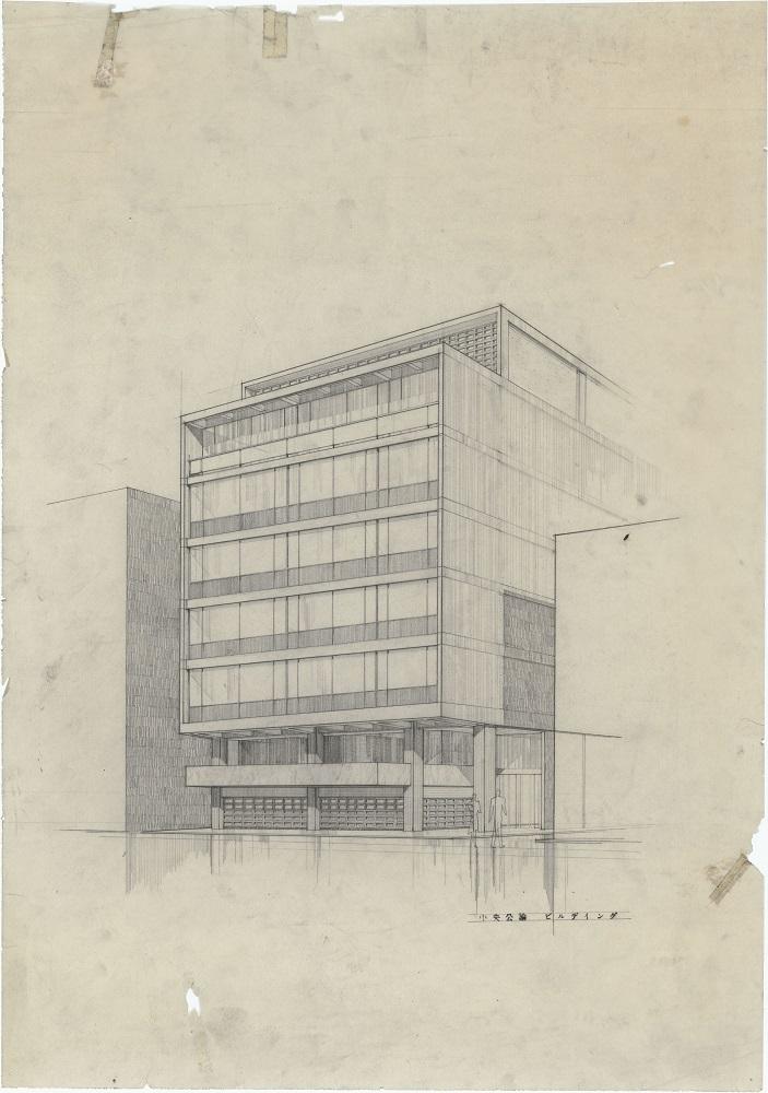 「中央公論ビルディング(透視図)」 1955年頃