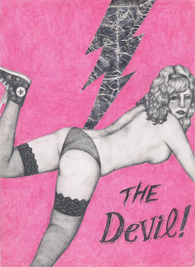 初期の頃の絵。色が少なく、裸の女性が睨んでいる。 (c)NEW DESTRUCTION