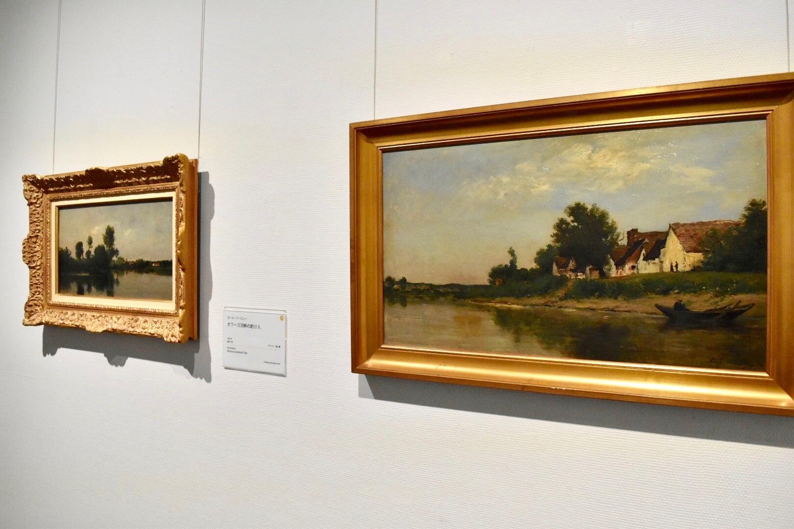 右:カール・ドービニー 《川岸》 1881年 ランス美術館蔵