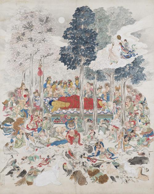 月僊「仏涅槃図」 名古屋市博物館蔵