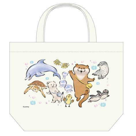 可愛い嘘のカワウソ うみの仲間のランチサイズトートバッグ  ¥1,540(税込) (C)️Lommy