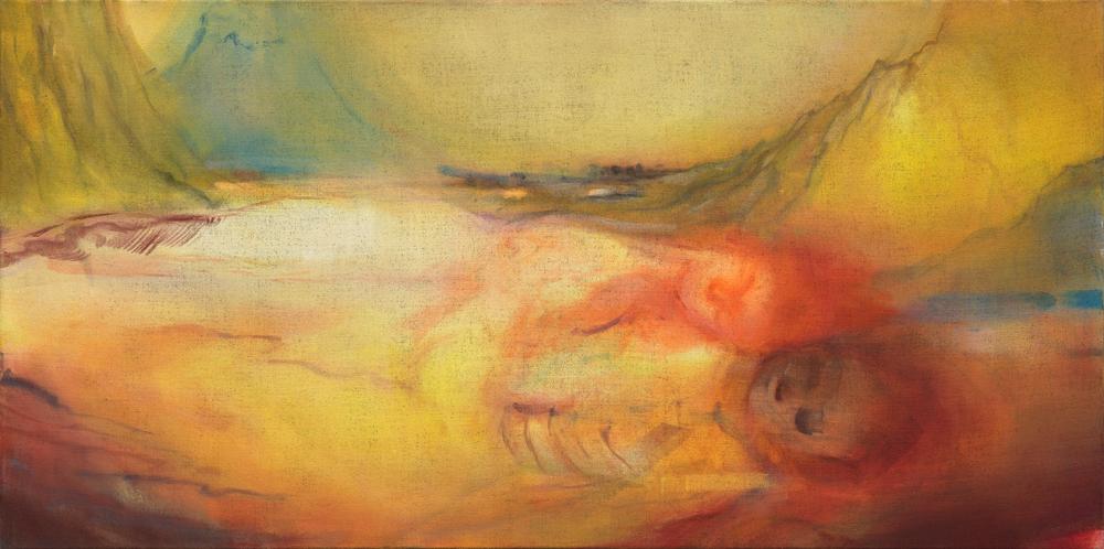 イケムラレイコ 《母の情景》 2011/15 年 油彩/ジュート 90x180cm 作家蔵