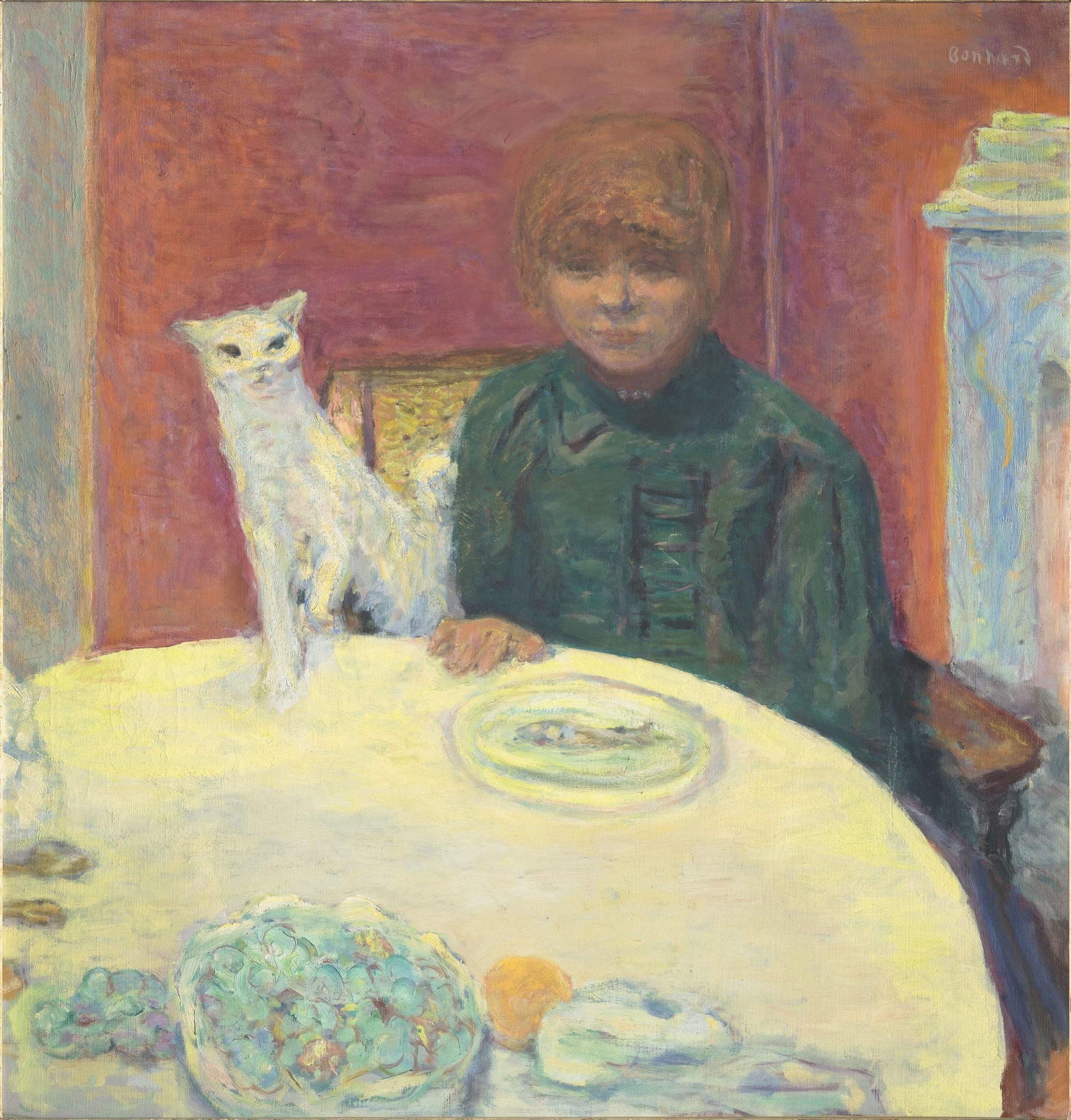 ピエール・ボナール《猫と女性 あるいは餌をねだる猫》1912年頃 油彩、カンヴァス オルセー美術館  (C)RMN-Grand Palais (musée d'Orsay) / Hervé Lewandowski / distributed by AMF