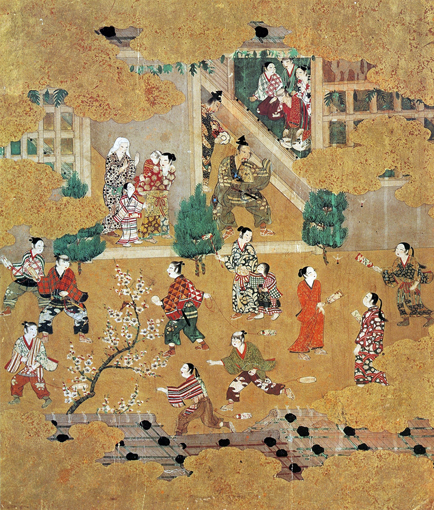 重要文化財 十二ヶ月風俗図  一帖のうち(一月) 桃山時代 16世紀 山口蓬春記念館