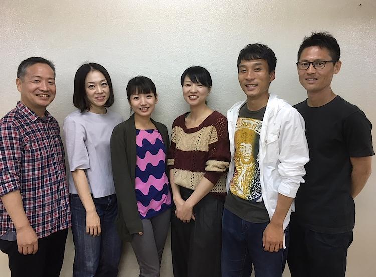 『ファントム』の出演者。左から・森本研典、原和代、増田美佳、大沢めぐみ、堀井和也、小笠原聡