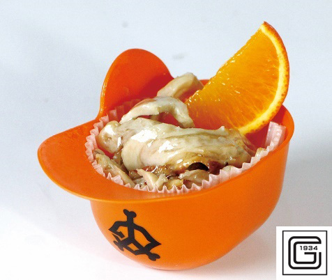「GIANTS ミニヘルメットとり皮ポン酢橙魂オレンジ添え」(600円)