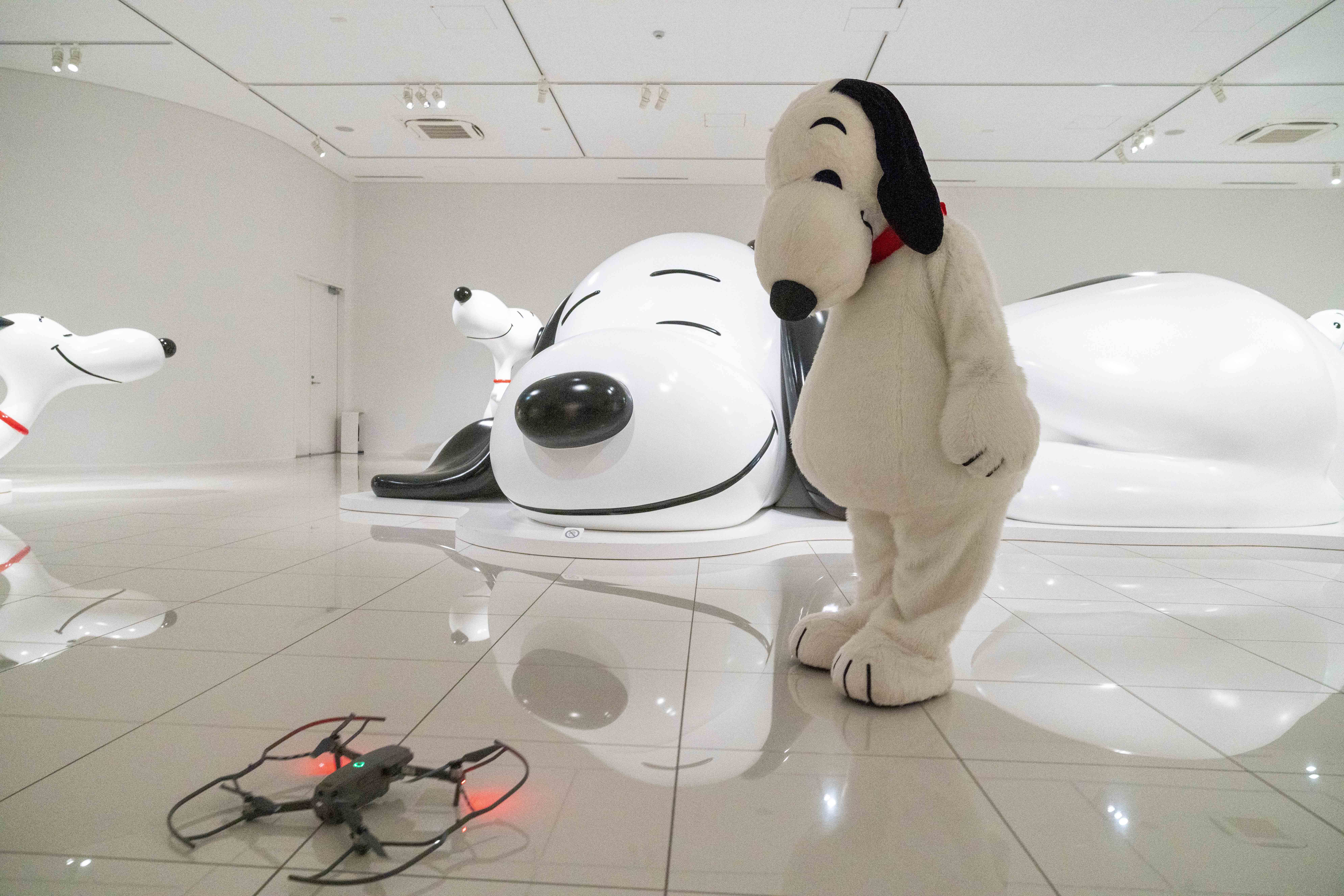 ドローンで上方から展示室を眺めることも(オフィシャル提供) (C) Peanuts Worldwide LLC