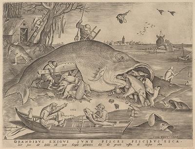 ピーテル・ブリューゲル1世、 彫版:ピーテル・ファン・デル・ヘイデン 《大きな魚は小さな魚を食う》1557年 エングレーヴィング Museum BVB, Rotterdam, the Netherlands