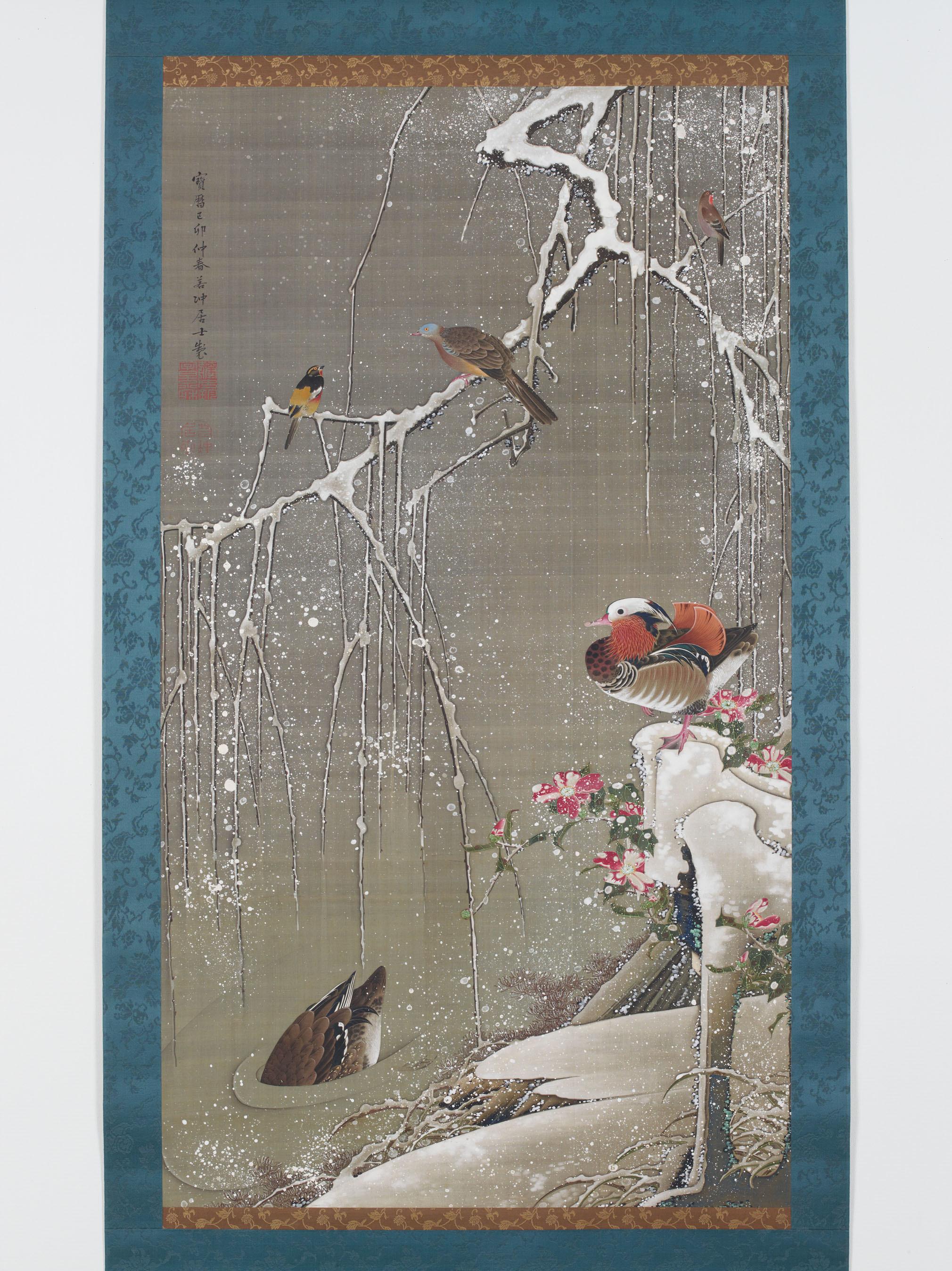伊藤若冲〈雪中鴛鴦図〉(動植綵絵30幅のうち) 宮内庁三の丸尚蔵館蔵 1759 年