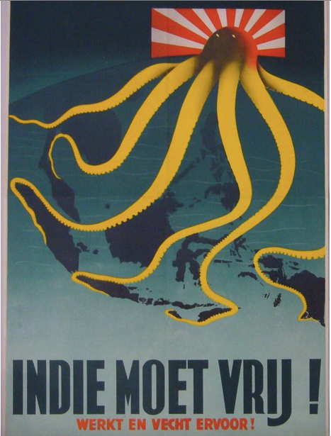 Keely, Patrick Cokayne『Indie Moet Vrij! Werkt en Vecht Ervoor! (The Indies Must Be Free! Work and Fight For It!)』1944  (C) P.J. Mode Collection of Persuasive Cartography at Cornell University