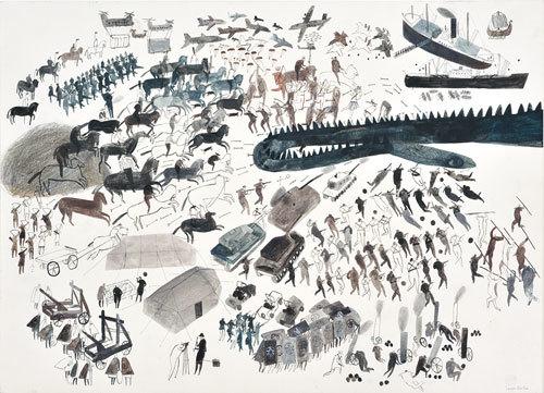 ローラ・カーリン《アイアンマン-鉄の男》2015年 Illustrations © 2010 Laura Carlin / From THE IRON MAN by Ted Hughes, illustrated by Laura Carlin / Reproduced by permission of Walker Books Ltd, London SE11 5HJ