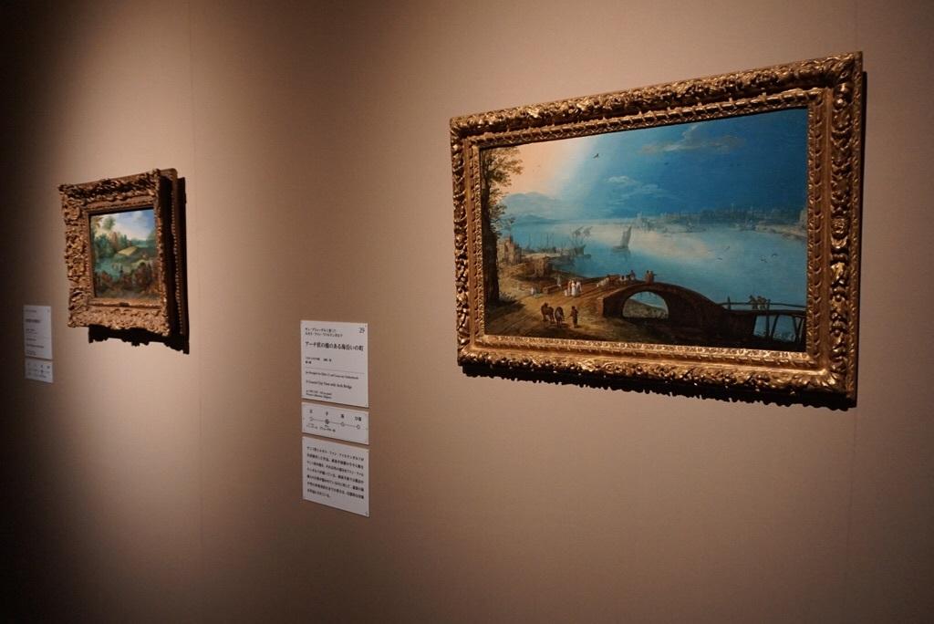《アーチ状の橋のある海沿いの町》ヤン・ブリューゲル1世(?)、ルカス・ファン・ファルケンボルフ  1590-1595年頃