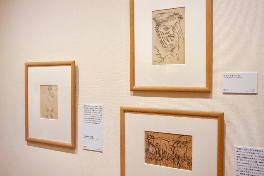 (右上)いわさきちひろ《ほおづえをつく男》1947年 鉛筆、洋紙  ちひろ美術館蔵