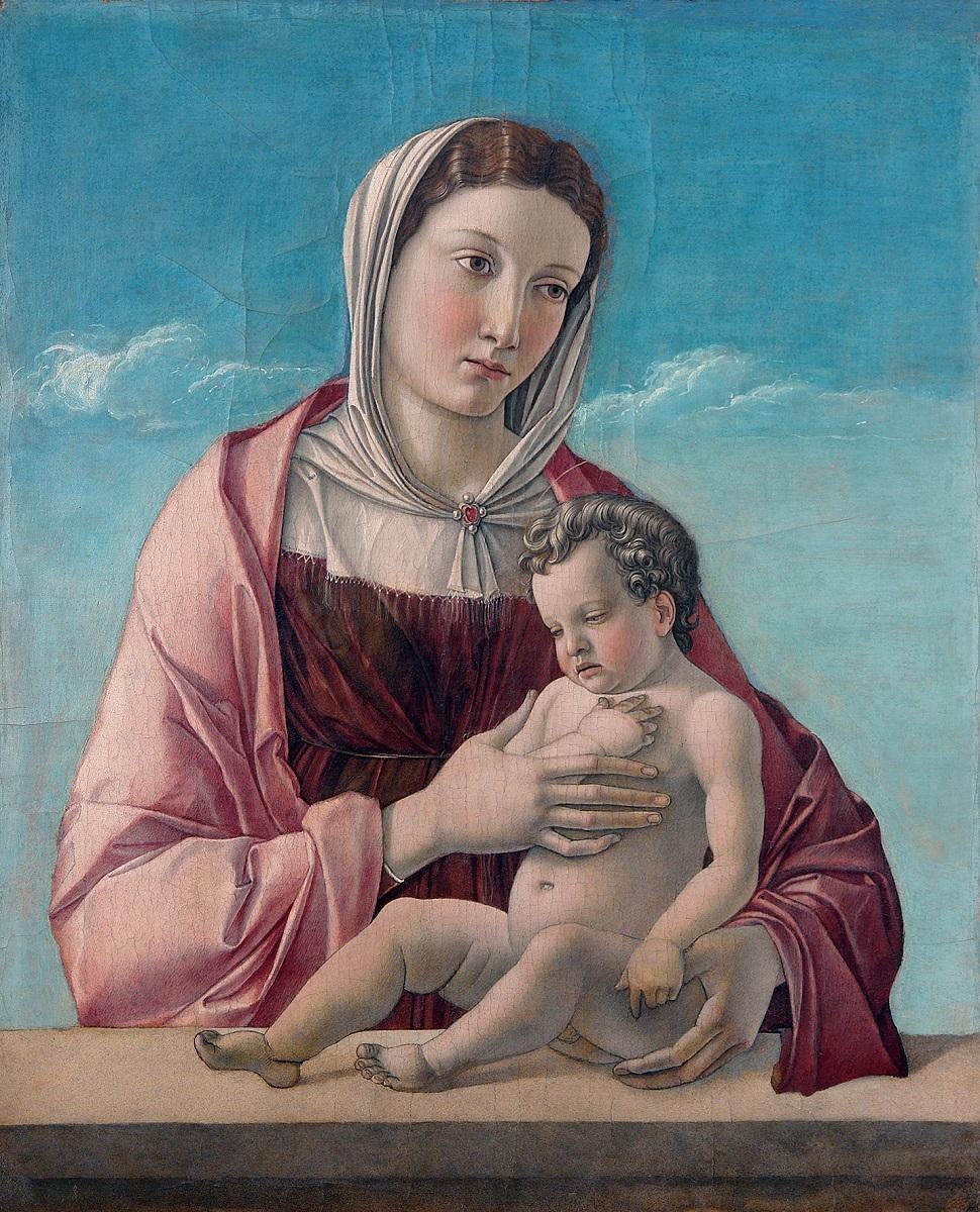 ジョヴァンニ・ベッリーニ 《聖母子(フリッツォーニの聖母)》1470 年頃、テンペラ、板(カンヴァスに移し替え)、52.5×43.2cm、ヴェネツィア、コッレール美術館 ⓒ2016. Photo Archive -Fondazione Musei Civici di Venezia