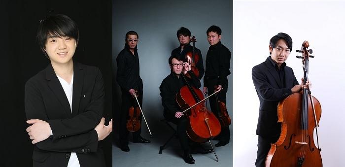 (左から)藤田真央、YAMATO String Quartet、佐藤晴真 (C)EIICHI_IKEDA、(C)ヒダキトモコ