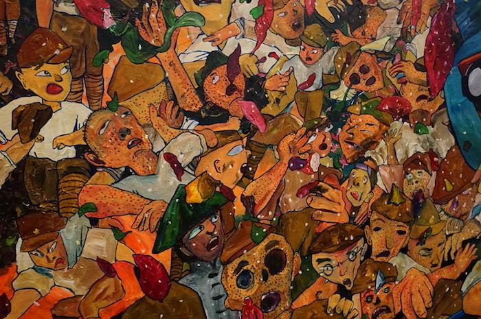 弓指寛治《鋤の戦士と鉄の巨人》部分 うっすらピカソやアンソールを思わせる画面左下の民衆