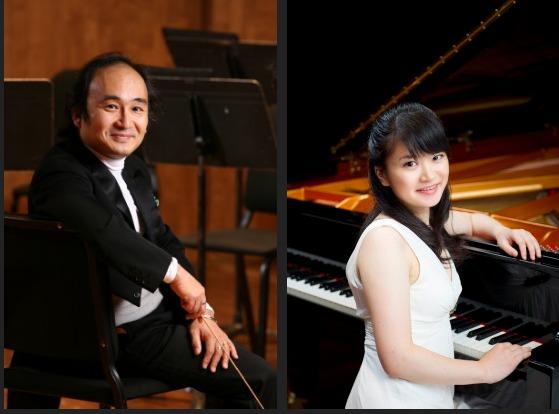 指揮/広上淳一  Photo:Greg Sailor(左)ピアノ/萩原麻未  (c)Akira Muto(右)