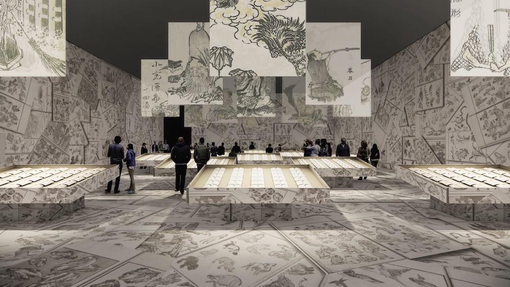 建築家・田根剛による『北斎漫画』展示プラン(イメージは構想段階のものです)