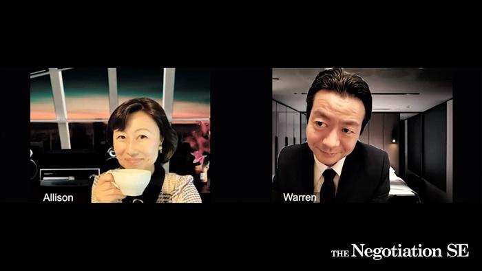『THE Negotiation SE』より。CEOのアリソン(山崎)とCOOのウォーレン(森下)。