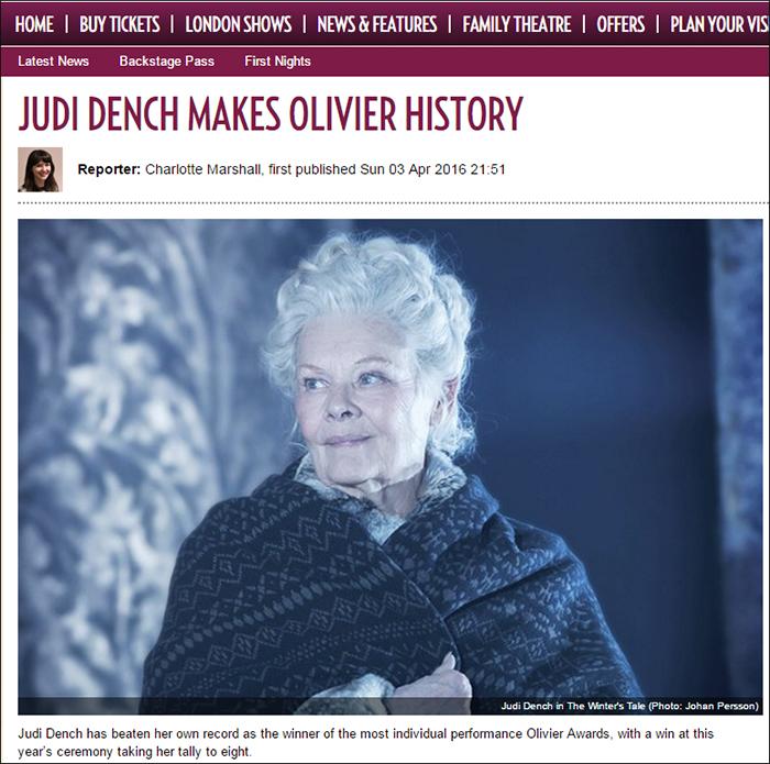 ジュディ・デンチの史上最多受賞を伝える英国「Official London Theatre」サイトより