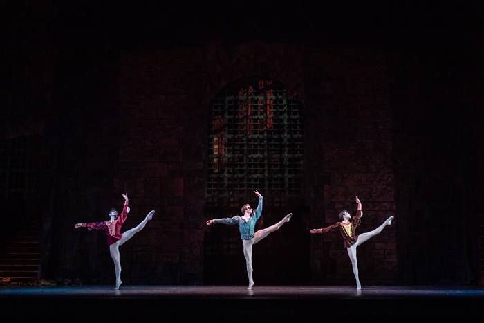 Valentino Zucchetti as Mercutio, Matthew Ball as Romeo and James Hay as Benvolio in Romeo and Juliet, The Royal Ballet © 2019 ROH. Photograph by Helen Maybanks
