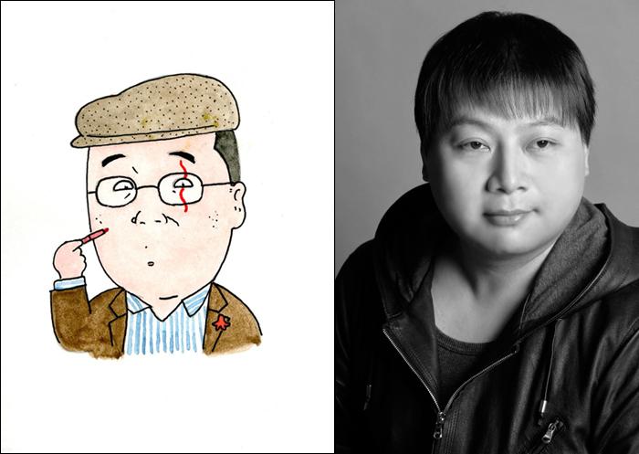 ミュージカル『深夜食堂』(左)安倍夜郎(本人による自画像)、(右)荻田浩一
