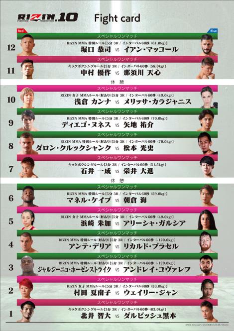 全12試合が設定されており、女子格闘技も3マッチ組まれている