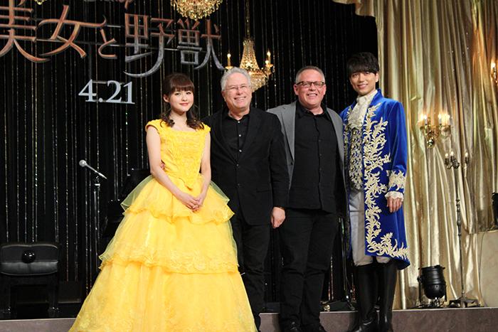 (左から)昆夏美 アラン・メンケン ビル・コンドン 山崎育三郎