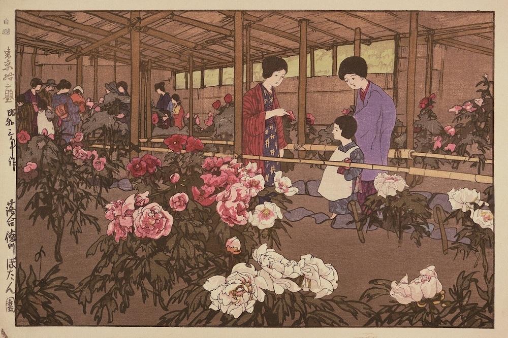 《東京拾二題 落合徳川ぼたん園》昭和3(1928)年 木版、紙 25.0×37.2cm