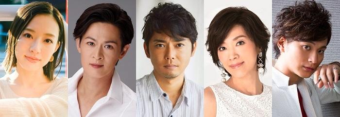 (左から)愛加あゆ、新納慎也、今井翼、真琴つばさ、日野真一郎(LE VELVETS)