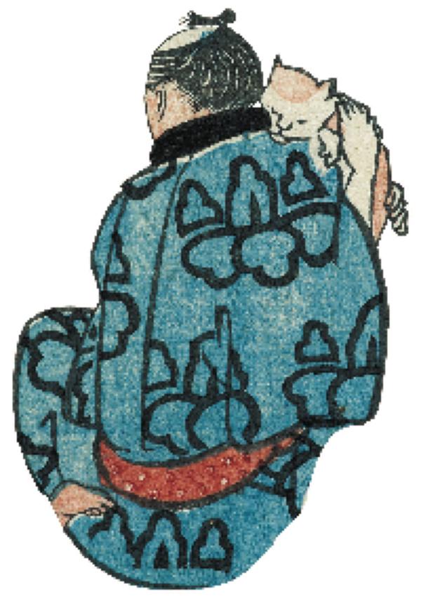 歌川国芳「浮世よしづくし」より国芳自画像 名古屋市博物館蔵(高木繁コレクション)