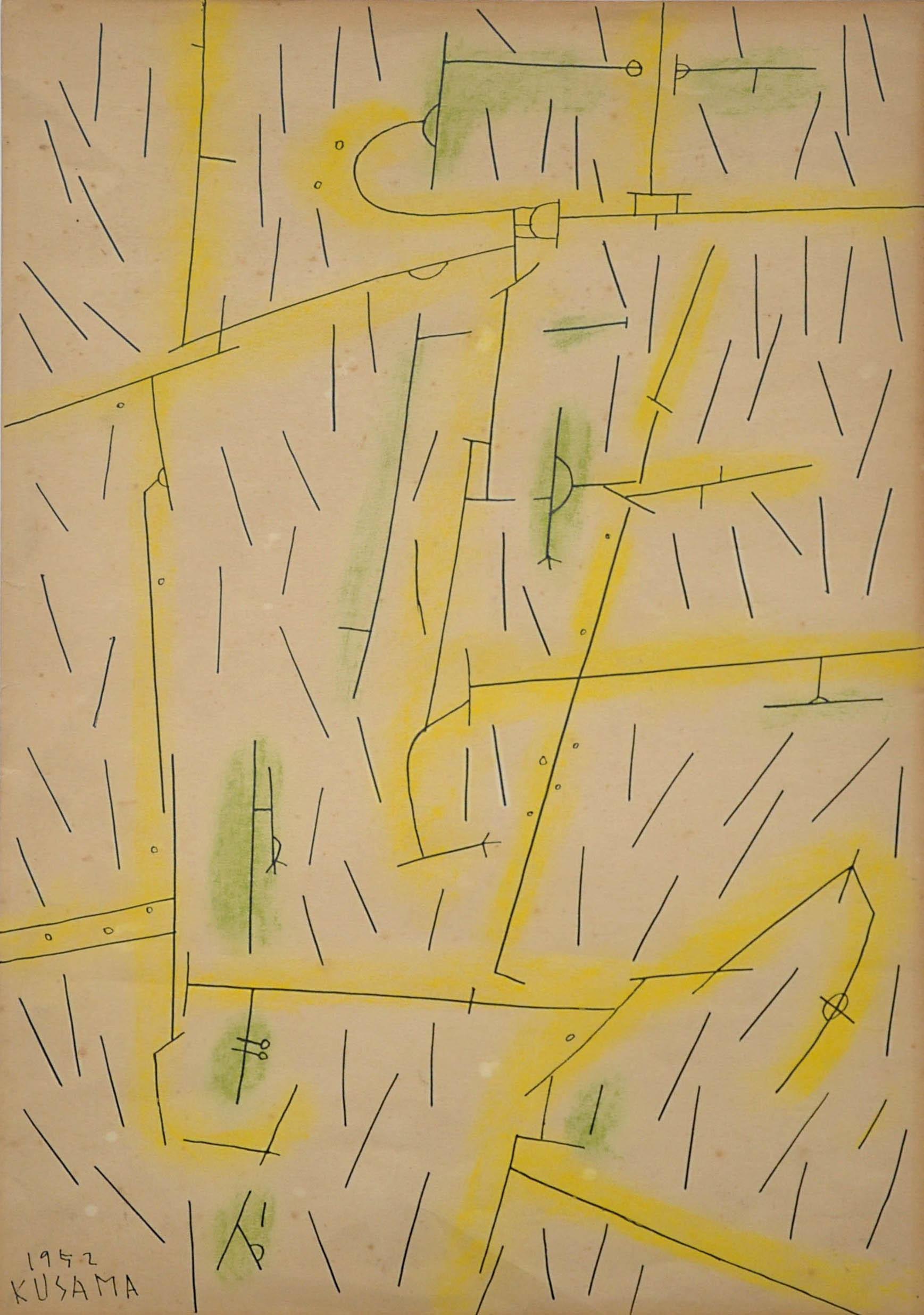 《都会の雨》 1952年 松本市美術館 (c)YAYOI KUSAMA