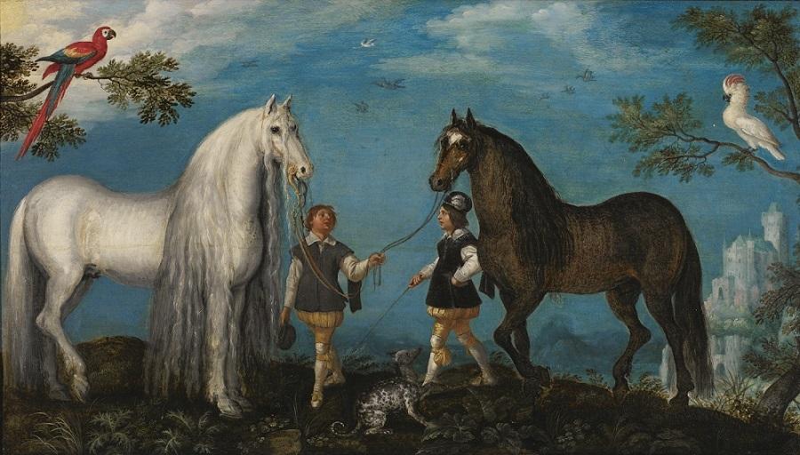 ルーラント・サーフェリー 《2頭の馬と馬丁たち》 1628年、油彩・板、コレクトレイク市美術館、ベルギー Loaned from the City Museums, Kortrijk (Belgium)