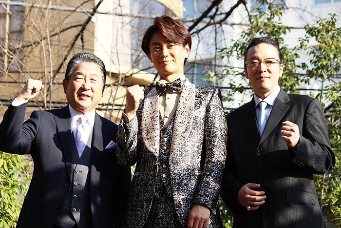 (左から)徳光和夫、氷川きよし、加藤和也(株式会社ひばりプロダクション代表取締役社長)