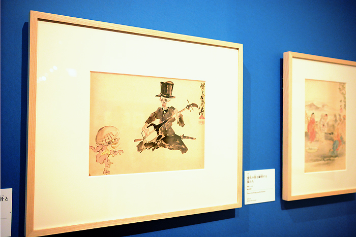 河鍋暁斎 《三味線を弾く洋装の骸骨と踊る妖怪》 明治4-22(1871-89)年 紙本淡彩 イスラエル・ゴールドマン コレクション Israel Goldman Collection, London