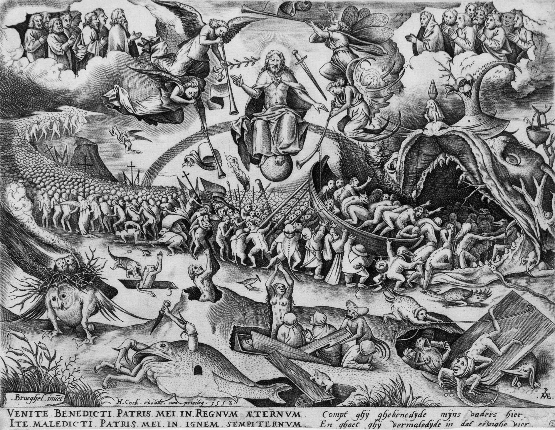 ピーテル・ブリューゲル1 世(下絵)ピーテル・ファン・デル・ヘイデン(彫版) 《最後の審判》1558年 Private Collection