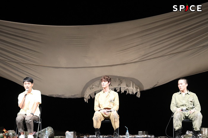 『ボクの穴、彼の穴。The Enemy』取材会 左からノゾエ征爾、宮沢氷魚、大鶴佐助