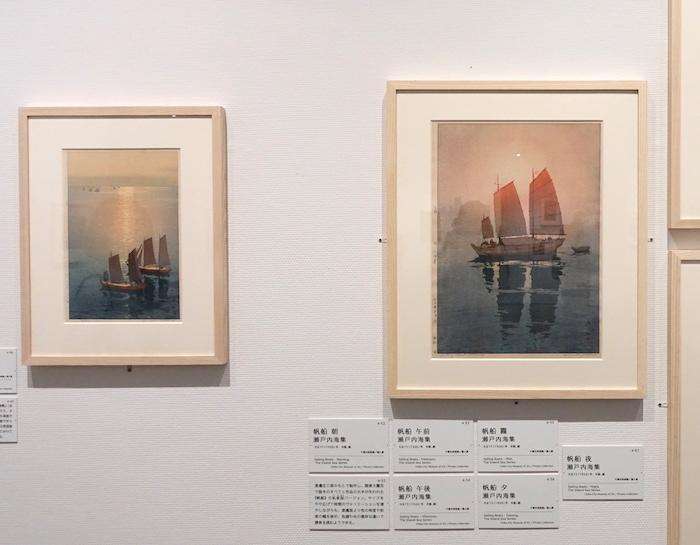 左から《光る海 瀬戸内海集》大正15年 千葉市美術館/個人、《帆船 朝 瀬戸内海集》大正15年 千葉市美術館/個人