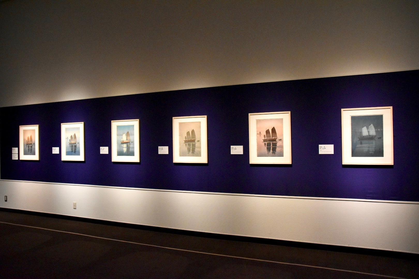 『瀬戸内海集 帆船』シリーズ 左から:《朝》《午前》《午後》《霧》《夕》《夜》いずれも1926年  摺色を替える技法を、吉田は「別摺(べつずり)」と呼んだ。