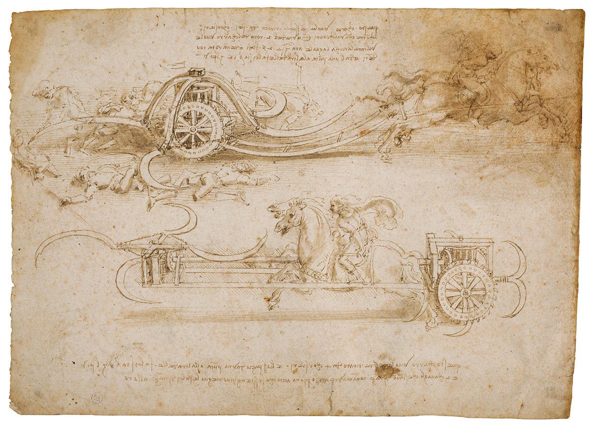 レオナルド・ダ・ヴィンチ 《大鎌を装備した戦車の二つの案》 1485年頃 トリノ王立図書館 ©Torino, Biblioteca Reale
