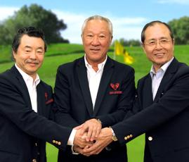 大会実行委員の青木功(中央)、王貞治(右)、日野皓正(左)
