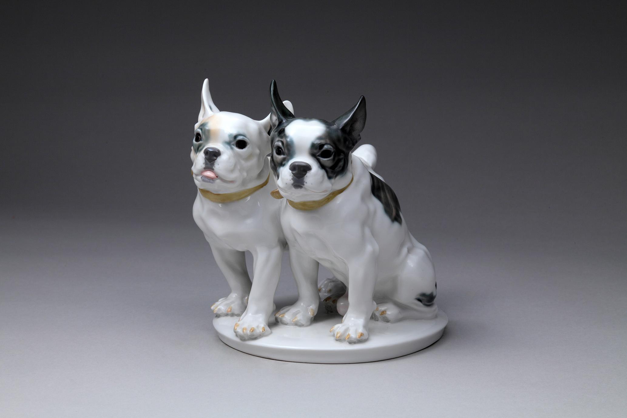 《二匹のフレンチブルドッグ》 エーリッヒ・オスカー・ヘーゼル 1924~1934年頃 J's collection
