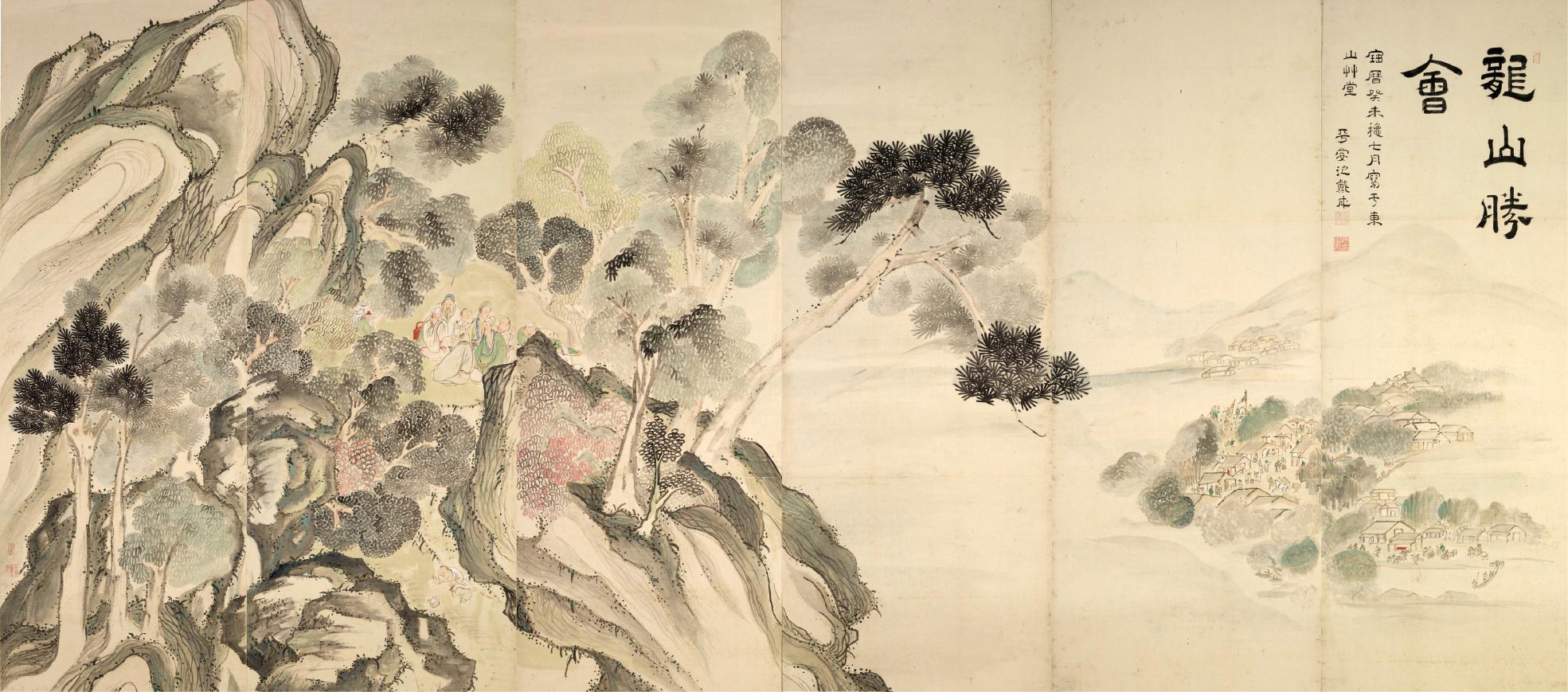 蘭亭曲水・龍山勝会図屏風(左隻) 静岡県立美術館 大雅芸術のひとつの到達点を示す記念碑的作品。重文に指定されている。
